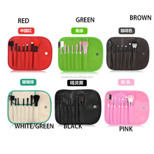 9 colors option Cosmetic Make Up Power Brush Set with POUCH 7 pcs