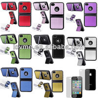 Aluminium TPU Hard Chrome Stand Case Cover For iPhone 4 4S + Screen Films And Stylus Pen