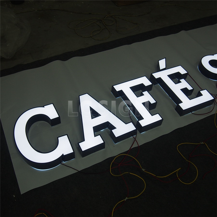 Newest 3d letter sign shop name board / company logo design lighted coffee