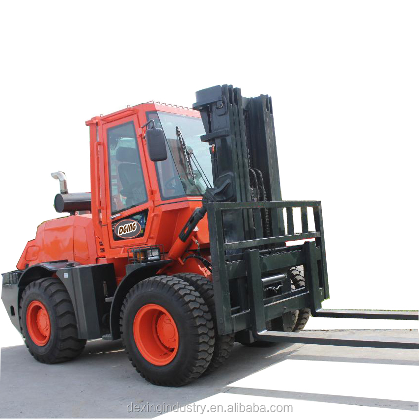 China New 10k All-terrain Forklift Trucks for Sale, Optional 3 stage Mast / Side Shift / Fork Positioner