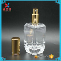 high quality small fancy perfume glass bottle with screw neck 60ml