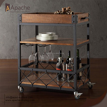 European style Serving Cart wooden wine display rack