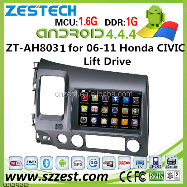 Quad core android car dvd for honda civic 2006 2007 2008 2009 2010 2011 with WiFI/3G/BT/SWC/USB/RDS