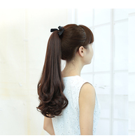 Long curly wig lady hair bind type pear flower fake ponytail large wave length in the realistic style wig