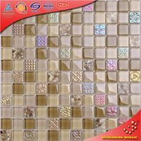 HY04 Yellow Beige Color Iridescent Rome Patterns Glass mixed Sea Shell Mosaic Tile