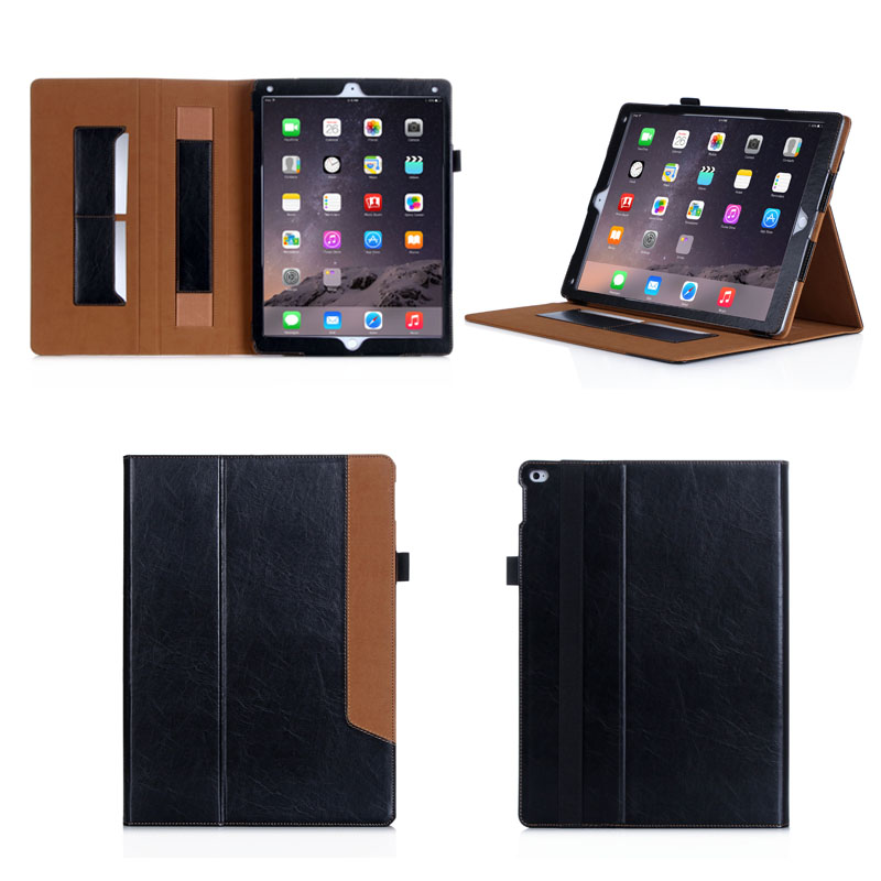 Fit for ipad case, Black cover Stent Leather Case for iPad Pro 12.9 with card solts