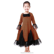 Halloween best-selling black flower in front stripe tulle stylish chic party star dress fall maxi frock for toddlers