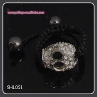 Bling rinestone ball hand woven Ring, latest crystal ball shamballa Ring bead Ringbracelet SHL051