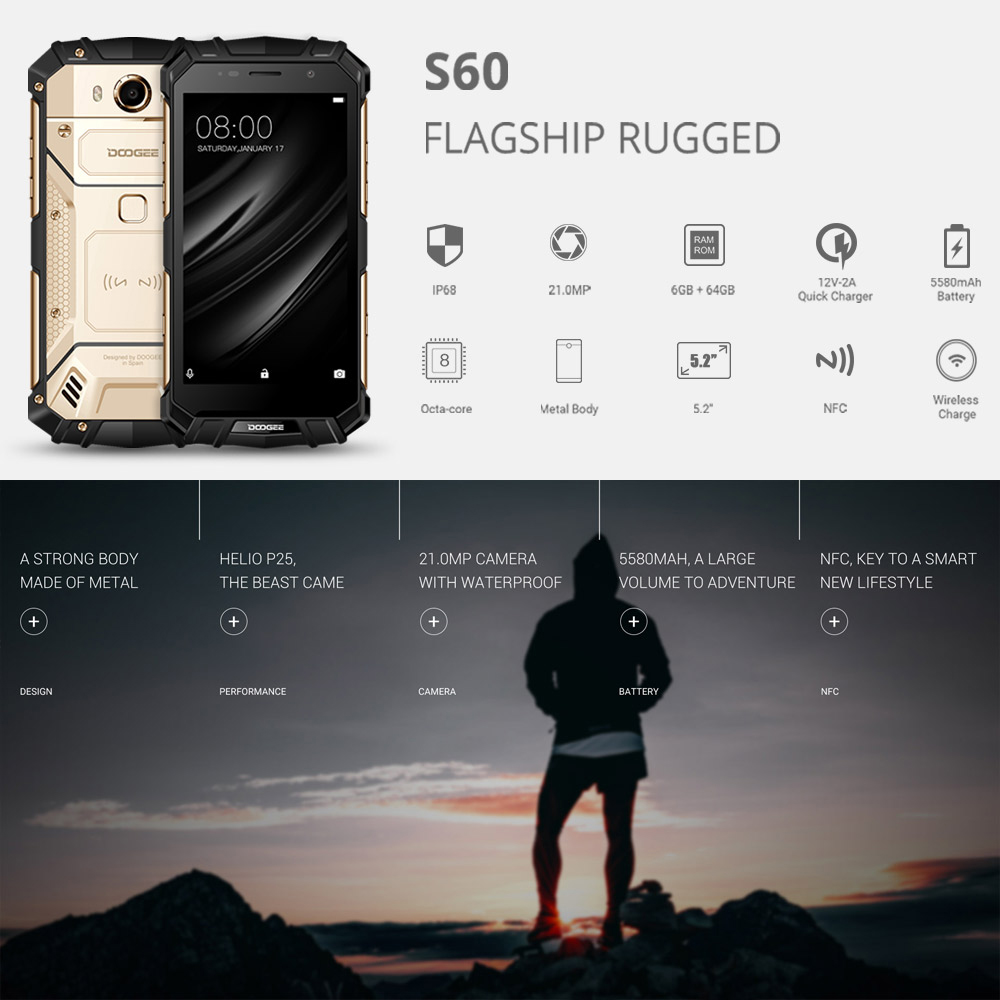 IP68 DOOGEE S60 Wireless Charge 5580mAh 5.2'' FHD Helio P25 Octa Core 6GB 64GB Smartphone 21.0MP Cellphone