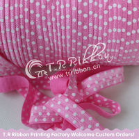 "White polka dots printed elastic ribbon, 5/8"" Cheap FOEs elastic ribbon #156 hot pink, custom printed elastic ribbon"