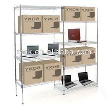 NSF 4 Tier Adjustable Supermarket Retail Shelving in Chrome