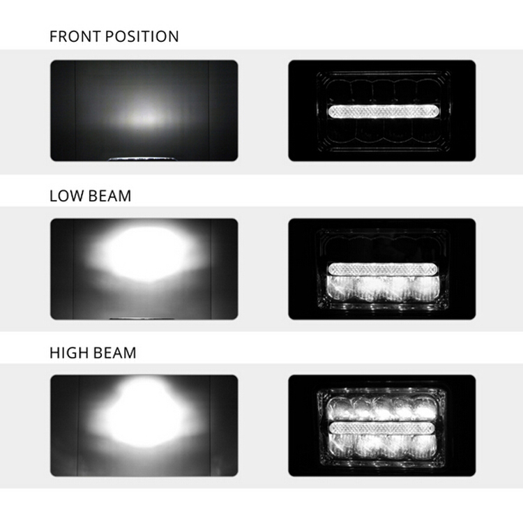 Great lighting 5inch 45w 4000lumen high low beam 12v 24v 4x6 inch led headlight with DRL