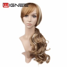28 Inches Long Curly Hair Wig Piano 613 Blonde Color Synthetic Hair Wigs Ponytail Braided Wig Wholesale