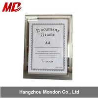 A4 Transparent Silver Edge Frameless Glass Picture Frame