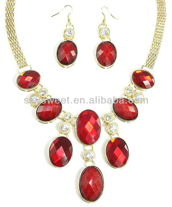 Gold Chain Crystal Bijouterie Necklace Ruby Jewels Necklace Earring Sets(SWTN1102-2)