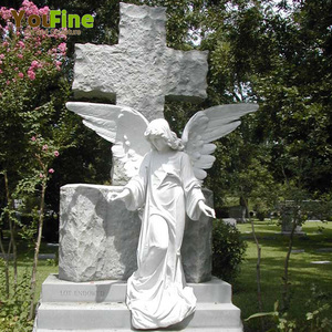 White Marble Monument Headstone with Angel Wings