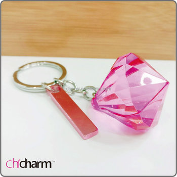 Pink Diamond Shape Crystal keychain wedding favors