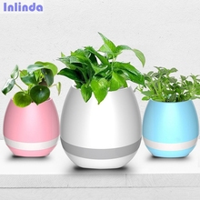 Original TOKQI Smart Wireless LED Bluetooth Speaker Music Plant Flower Touch Sensing Pots Waterproof Pink Blue White Color