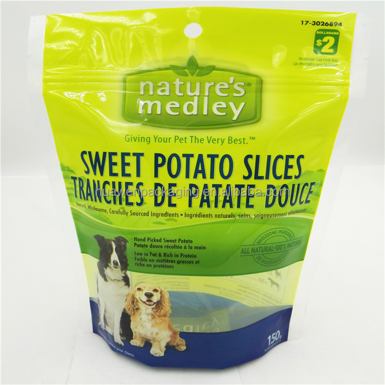 Wholesale Price Resealable Laminated Packaging Pet Dog Food Treat Pouch Bags with Zipper