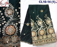 CL10-14 Hot sell new design african velvet lace fabric for girl winter dress