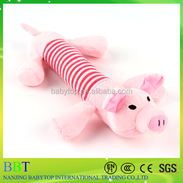 Pet toys plush squeeze long body animal pink pig plush toy dog chew toy