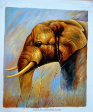 Handmade oil painting picture of elephant canvas painting over stock