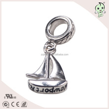 Fashionable European Bracelet 925 Sterling Silver Sailing Boat Charm