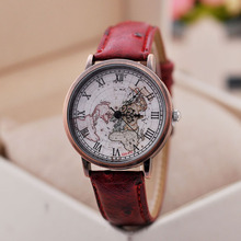 Fashion Woman Watch with High Quality Antique Roman Copper Case World Map Quartz Watches Wholesale