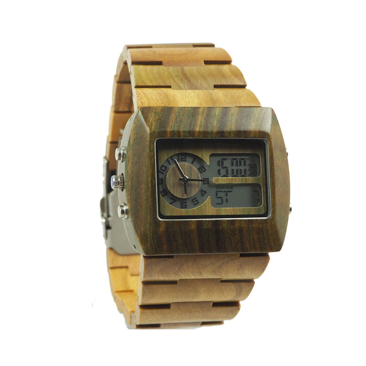 Digital wrist wach for men wooden quartz style fashion functional watches