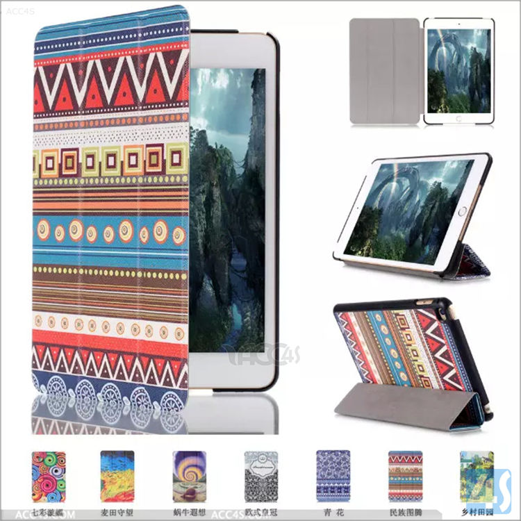 For ipad mini4 smart leather covers, for Ipad mini 4 flip cases cover
