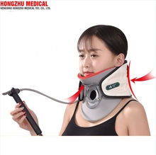 Air inflatable neck supporting cervical brace collar neck traction device