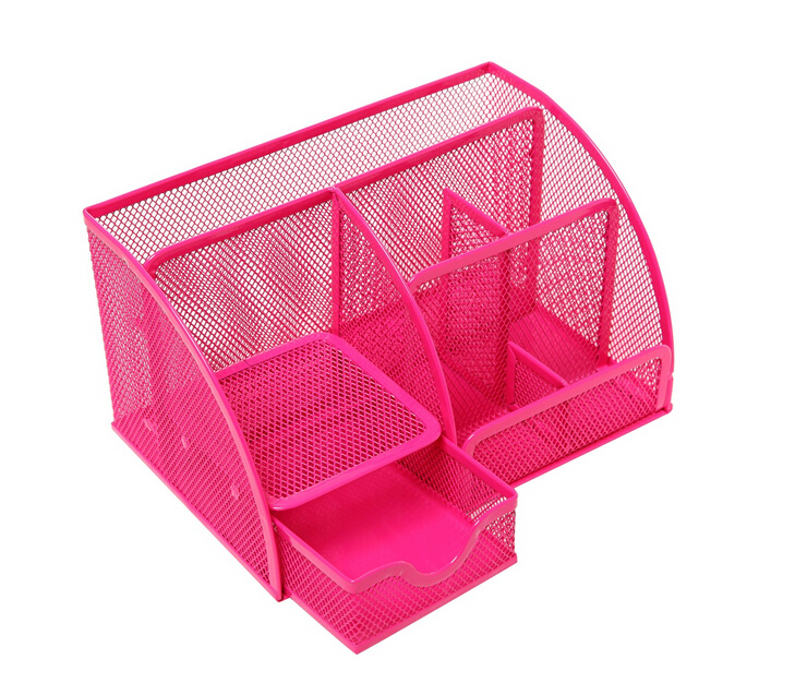 Metal Mesh 6 Compartment Desk Organizer Office Supply Caddy
