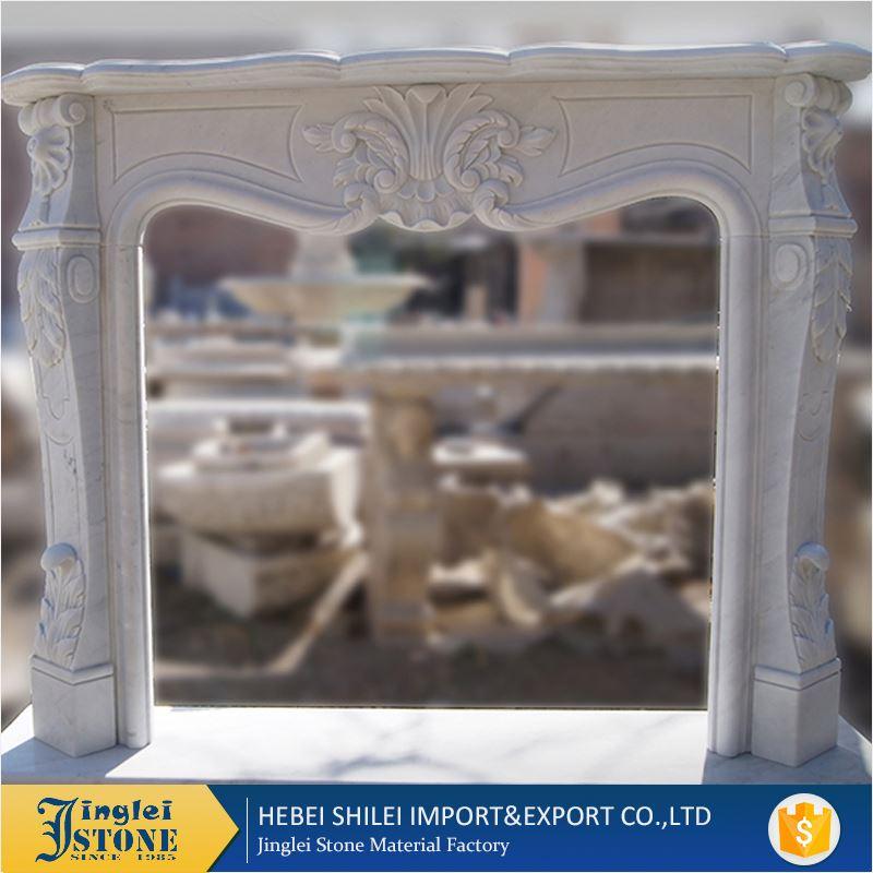 Polished and Curved Natural Gas Fireplace Mantel