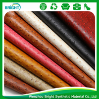 ostrich leather for shoes, PU synthetic leather price, high quality recycled leather