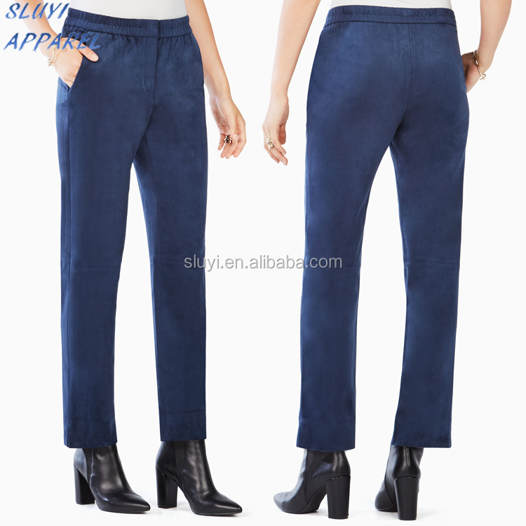 Stretch cotton polyseter pants denim fabric Outdoor Quick Dry trousers Customized Euro Plain women fashion blue Pants