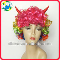 Mixed Color Halloween Wig With OX Horn
