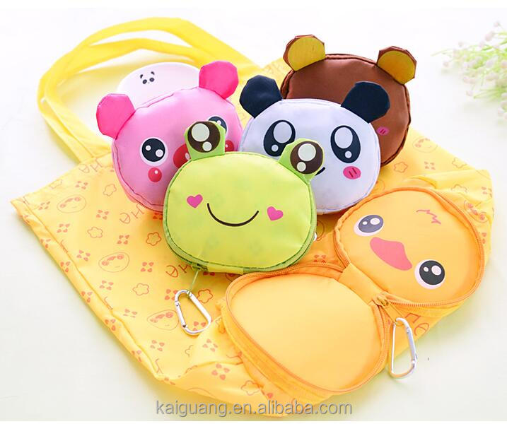 Newest and reusable nylon foldable cute animal shopping bag