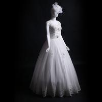 Straps Floor Length Ball Gown Heavily Beaded Bodice Wedding Dresses no Train