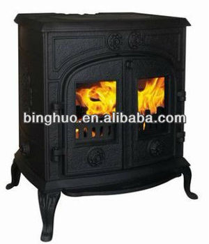 cast iron wood burning stove insert fireplace view cast