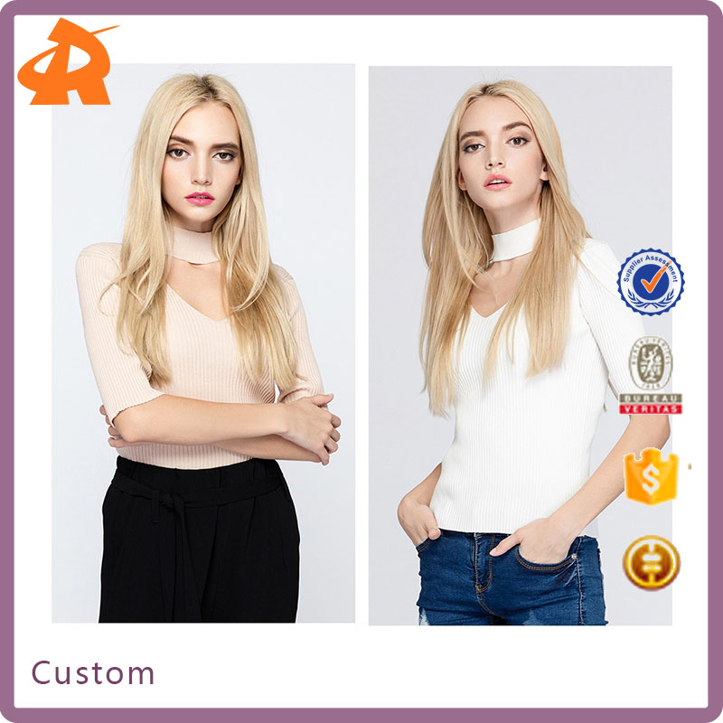 2017 V Chest Low Cut Half Sleeve Solid Color Women Sweater with Neck Ring