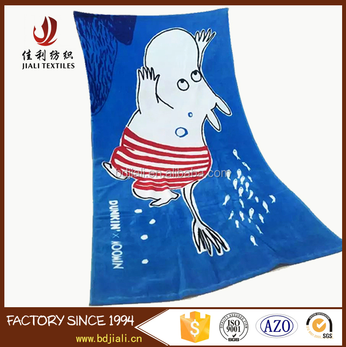 Promotion 100% Cotton Velour Printed Moomin Beach Towel