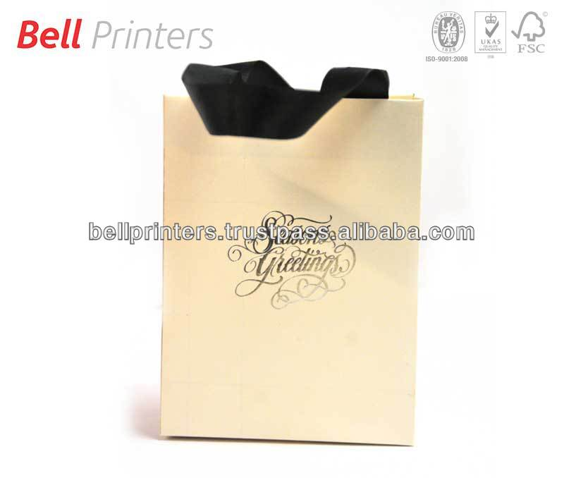 Christmas gift paper bags with gold stamping foiling from India