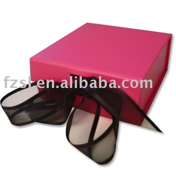 luxury foldable Jewellery paper gift box with ribbon tied