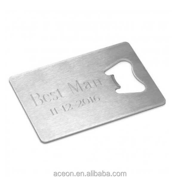 Yiwu Aceon Stainless Steel Metal Craft Family Tool Brushed Engraved Credit Card Bottle Opener Dog Tag