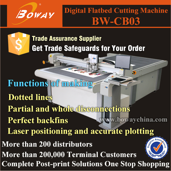 CB03 Digital cutting laser position CNC sample corrugated cardboard box making machine