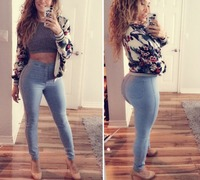 hot sale nice formal top selling 2017 high waist jeans slim women pants tight simple jeans for women