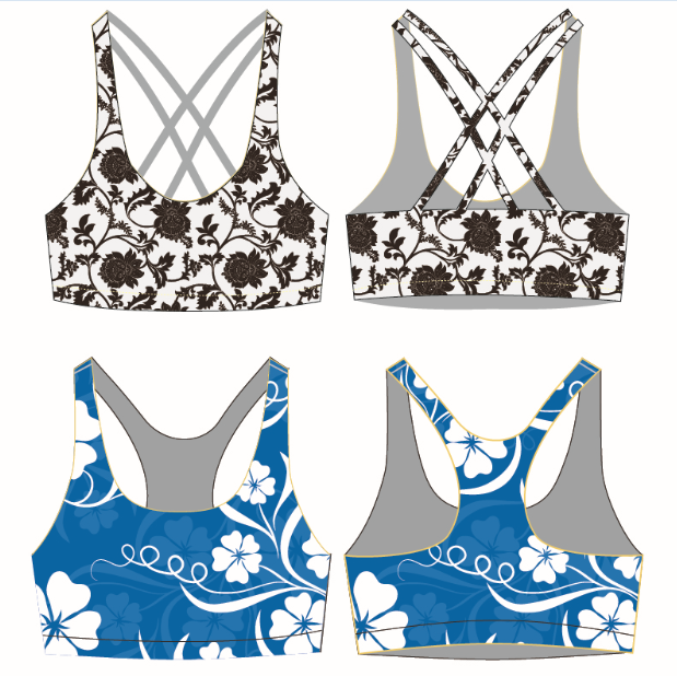 Low MOQ High-end Sublimation Printed Sport Wear Fitness Activewear Clothing for Women Yoga Bra
