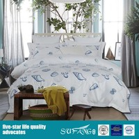 Shell starfish printed white satin cotton fabric for home bed cover set