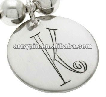 alphabet letters stainless steel metal disc charms for jewelry necklaces
