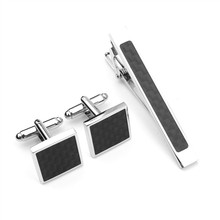 Fashion Silver Black Men Tie Bar Cufflink, Cuff Link and Tie Clip Sets